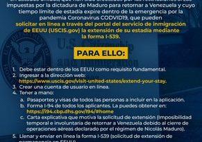 Extensión de límite de estadía  para venezolanos afectados por las restricciones de tránsito en Estado Unidos